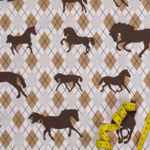 Pferde auf Karomuster – BEIGE 100% Baumwolle
