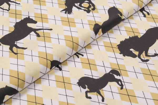 Pferde auf Karomuster – GELB