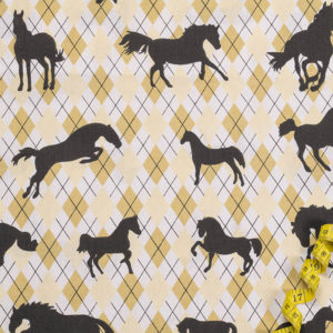 Pferde auf Karomuster – GELB 100% Baumwolle