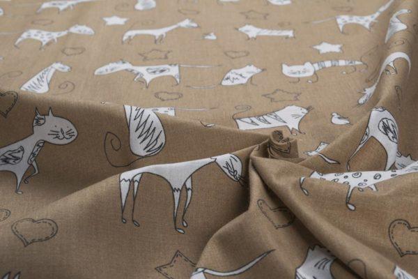 Gemalte Katzen – BEIGE 100% baumwolle - gemustert