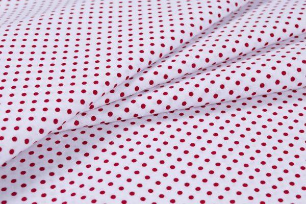 Punkte (2 mm) – WEISS-ROT 100% baumwolle - gemustert