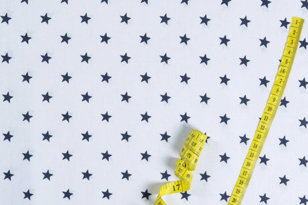 Sterne – WEISS-BLAU 100% baumwolle - gemustert