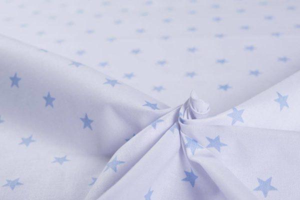 Sterne – WEISS-HELLBLAU 100% baumwolle - gemustert