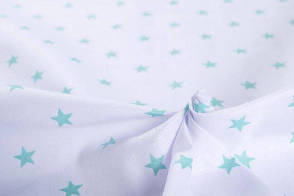 Sterne – WEISS-TÜRKISGRÜN 100% baumwolle - gemustert