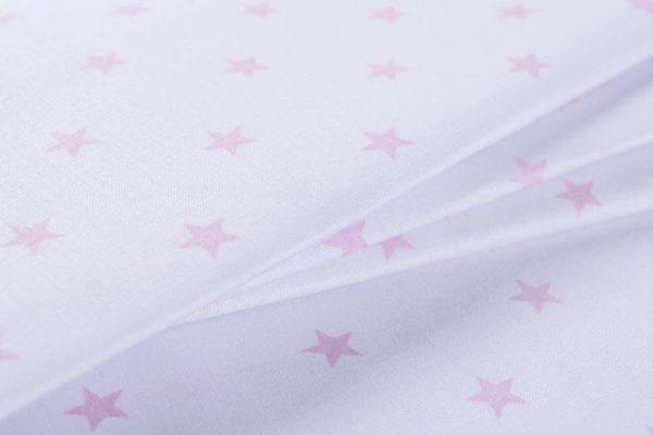 Sterne – WEISS-ROSA 100% baumwolle - gemustert
