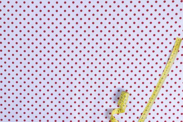 Punkte (5 mm) – WEISS-ROT 100% baumwolle - gemustert