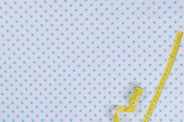 Punkte (5 mm) – WEISS-TÜRKIS 100% baumwolle - gemustert