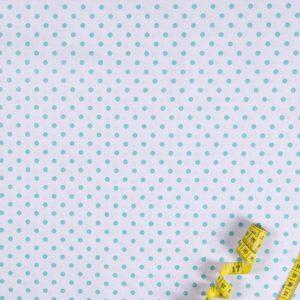 Punkte (5 mm) – WEISS-TÜRKISGRÜN 100% baumwolle - gemustert
