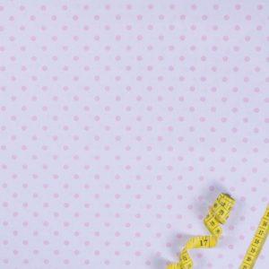 Punkte (5 mm) – WEISS-ROSA 100% baumwolle - gemustert