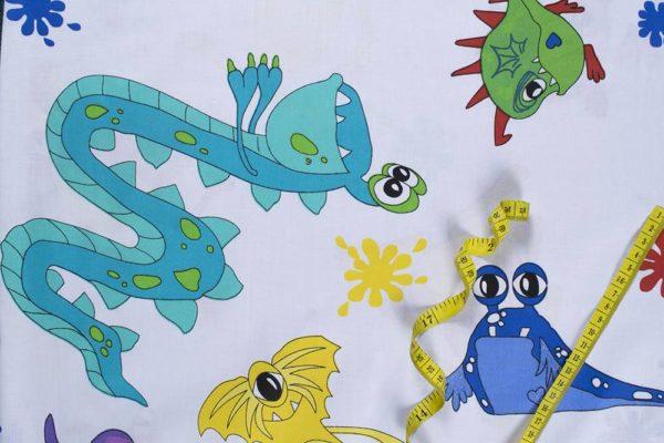 Kleine Monster – WEISS 100% baumwolle - gemustert