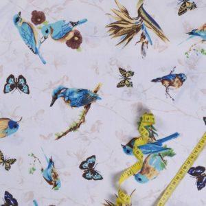 Vögel - BEIGE 100% baumwolle - gemustert
