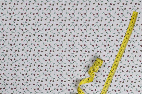 Blumenherzen - WEISS 100% baumwolle - gemustert