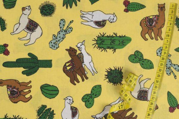 Alpakas – SENFGELB 100% baumwolle - gemustert