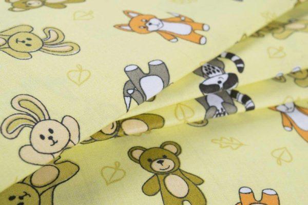 Tiere des Waldes - GELB 100% baumwolle - gemustert