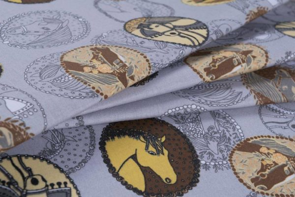 Preisgekrönte Pferde – GRAU 100% baumwolle - gemustert