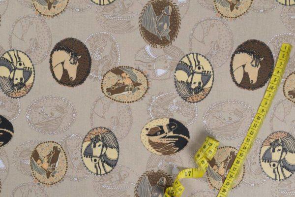 Preisgekrönte Pferde - BEIGE 100% baumwolle - gemustert