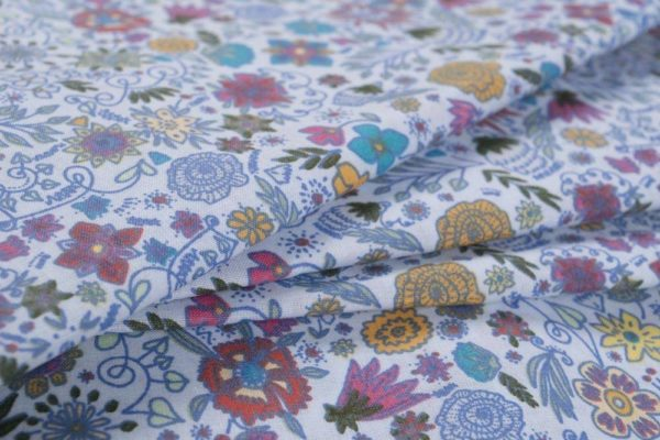 Fabelhafte Blumen - BLAU 100% baumwolle - gemustert
