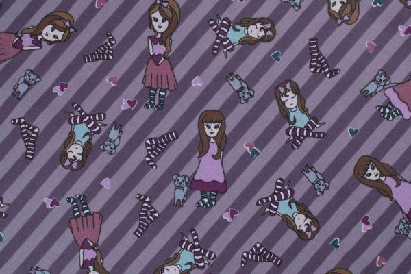 Mädchen - LILA 100% baumwolle - gemustert