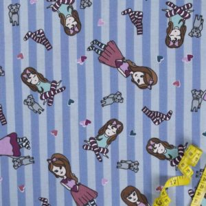 Mädchen - BLAU 100% baumwolle - gemustert