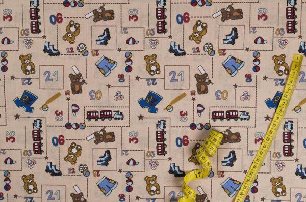Spielzimmer - BEIGE 100% baumwolle - gemustert