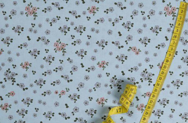 Kleine Blumen - BLAU 100% baumwolle - gemustert