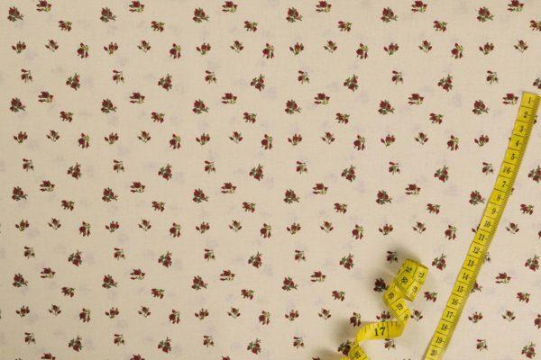 Rosenknospen - EKRU 100% baumwolle - gemustert