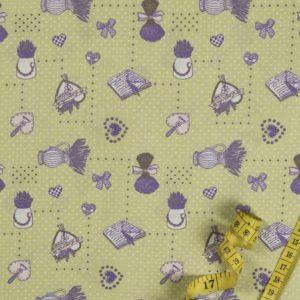 Lavendelsträuße - GRÜN 100% baumwolle - gemustert