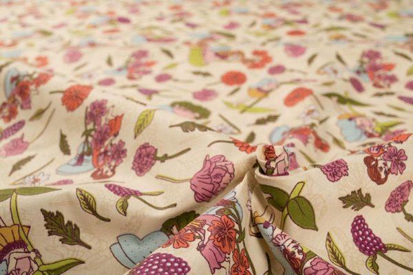 Blumenfeen - ECRU 100% baumwolle - gemustert
