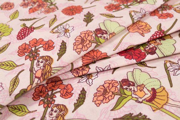 Blumenfeen - ROSA 100% baumwolle - gemustert