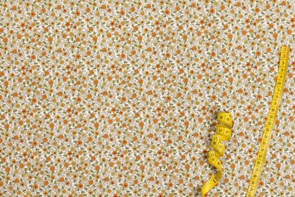 Blumengarten - ORANGE 100% baumwolle - gemustert