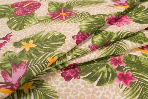 Tropische Blumen - ROSA 100% baumwolle - gemustert