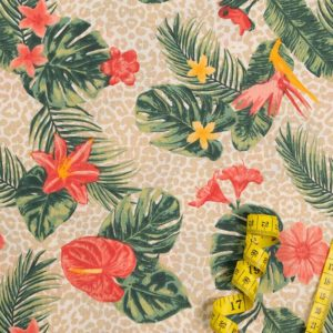 Tropische Blumen - LACHSFARBEN 100% baumwolle - gemustert