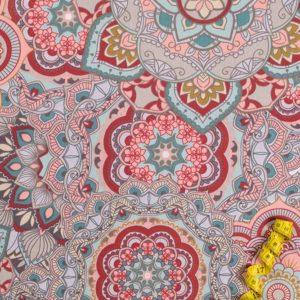 Mandala 3. - ROSA-ROT 100% baumwolle - gemustert
