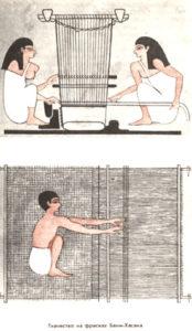 Ägypter mit Webstuhl